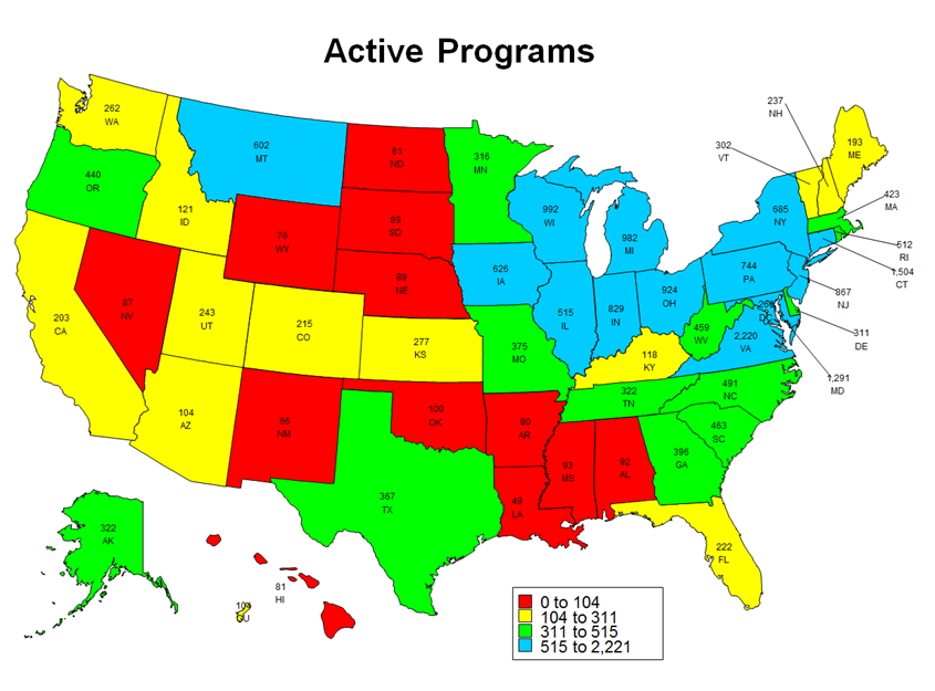 Map of active apprenticeship programs in the United States